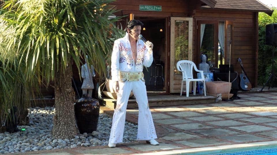 outdoor party covid social distancing elvis impersonator music summer garden